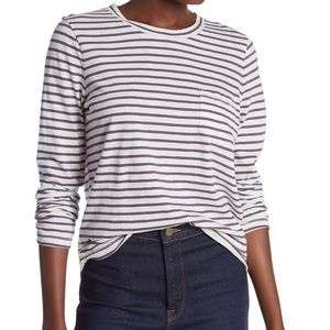 Madewell Gray and White Striped Long Sleeve Tee